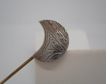 Antique Victorian Era Jewelry Sterling Silver Moon Hat Stick Pin Brooch