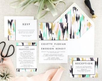 Modern Wedding Invitation with RSVP Cards - Boho Wedding Invitation Printed - Green Wedding Invites Set - Abstract Invitation - Set of 10