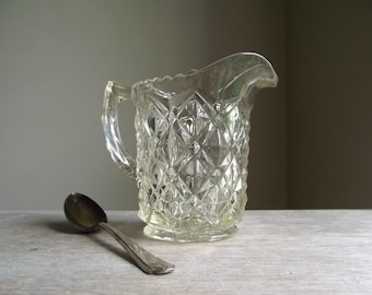 Clear Glass Creamer by Imperial Glass Co | Vintage Pressed Diamond Block or Little Jewel Pattern Creamer | Small Glass Pitcher