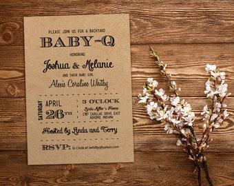 Baby-Q Baby Shower Invitation Template Download - Black Kraft Baby Girl Invitation Baby Shower Printable - Baby Girl Shower - Backyard BBQ