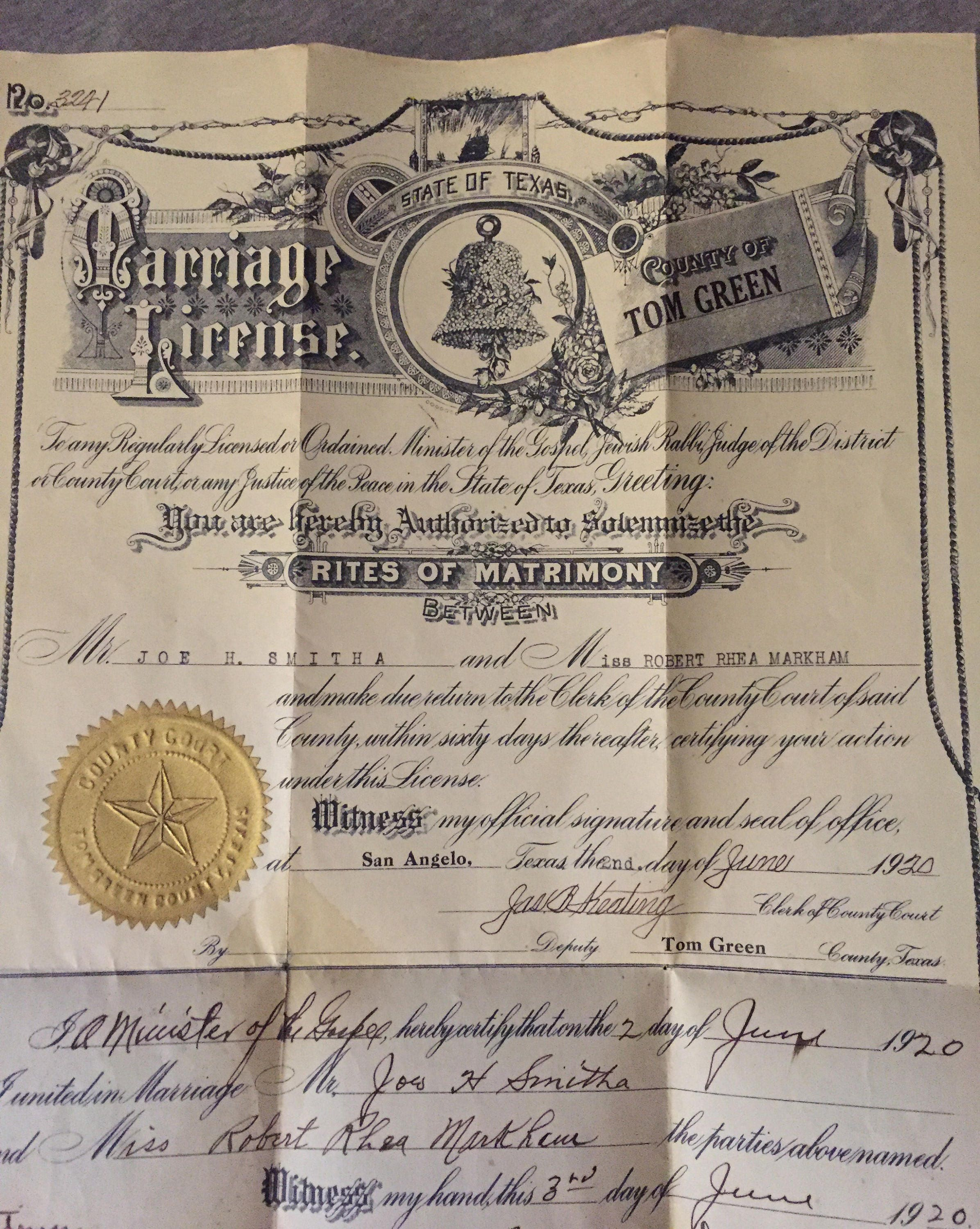 1920 texas marriage license certificate rites of matrimony zoom 1betcityfo Image collections