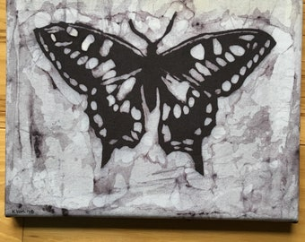 "Black and white butterfly or moth batik original handmade art textile (8"" x 10"")"