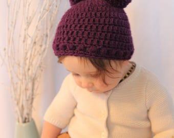 Hand Crocheted Pom Pom Hat in Purple
