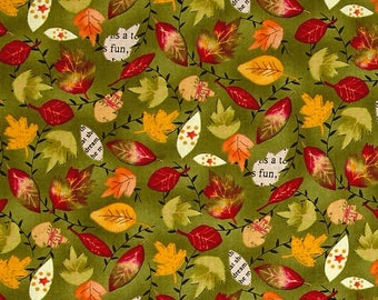 Autumn Road Leaves Allover Green ~ Fall Quilting Fabric by  Katie Doucette  for Wilmington Fabircs