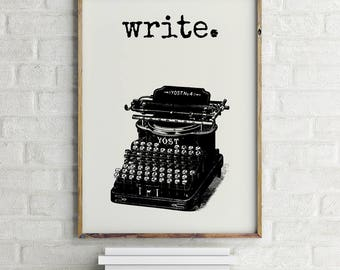Typewriter Print, Writer Wall Art, Typewriter Poster, Writer Quote Art, Writer Gift Ideas