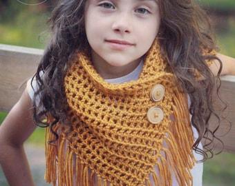 Easy Crochet Pattern, crochet triangle scarf pattern, gift for her, lightweight crochet scarf, scarf pattern with fringe, CHEYENNE SCARF