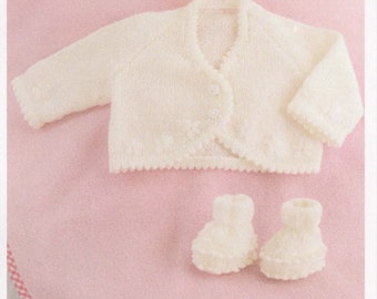 baby knitting pattern baby girls cardigan  prem 10 in chest to 18 in. dk