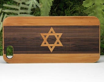 Israel Flag iPhone 8 Plus Case. Jewish Religious Symbol. Israeli Hanukkah Gift Star of David with Stripes. Bamboo Wood Cover. iMakeTheCase