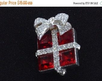 On sale Cute Vintage Red, Clear Rhinestone Christmas Present Brooch, Silver tone