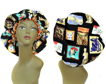 Satin Bonnet Cats In Famous Portraits Print Satin Lined Sleep Bonnet Large