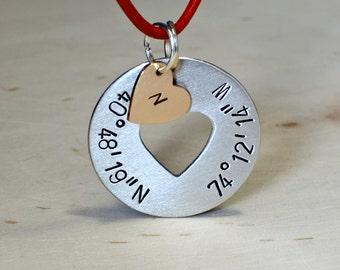 Latitude longitude necklace with personalized heart charm - NL072