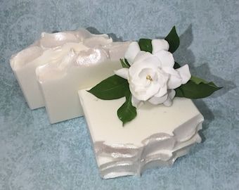 White Gardenia | Handcrafted Artisan Soap | Luxury Soap | Cold Process | Palm Free | Soap for Her | Free Shipping | Valentines Day