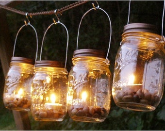 Four Ball Mason Jar Clear Lantern Candle Hanging Vase Outdoor Lighting Patio Decor Rustic Wedding Gift