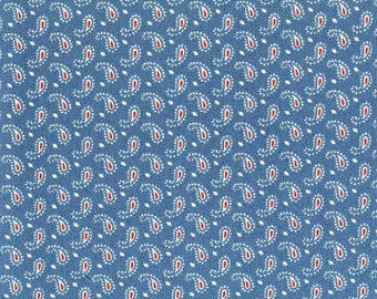 Anns Arbor Cream Medium Blue 14847 15 - Moda Fabrics 100% Cotton Quilting Fabric by Minick and Simpson