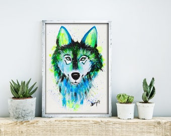 Wolf Original Acrylic Painting
