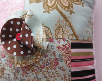 """LAST ONE Patchwork Pillow Amy Butler Fabrics Decoration Large """"Chic Boutique"""" One of a Kind"""