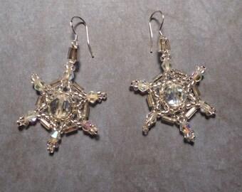 Austrian crystal woven earrings. Mandalas.