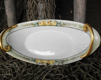 Vintage Antique Hand-painted Porcelain Dish with Yellow Roses, Vienna Austria Signed V. Hoffman, P.H. Leonard Importer 1890s