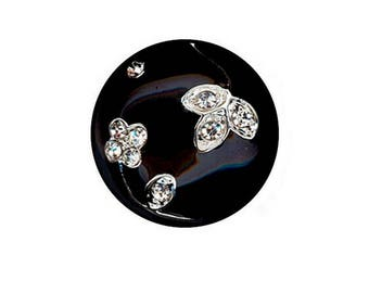 Beautiful black enamel button and crystal