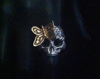 Custom made Serling Silver Engraved  Butterfly Skull Ring