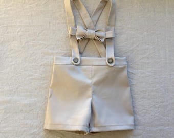 Baby boy suspender shorts and bow tie tan ring bearer outfit