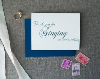 Thank You For Singing at Our Wedding Card | Ways to Thank Your Wedding Cantor | Calligraphy Stationery for Wedding | Personalized Card Name