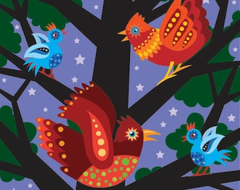 Night Bird illustration print