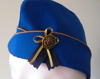 """Garrison Cap - Blue and Gold - Flight Hat - Aviator - Size 22.5"""" - Ready To Ship"""