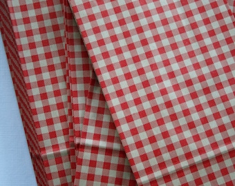 Set of 50 - Red Gingham Flat Bottom Paper Merchandise or Lunch Bags - 4.25 x 2.375 x 8.18 Inches - Gifts, Packaging, Retail