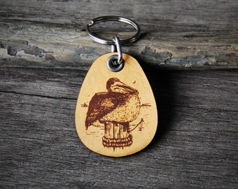 Pelican- genuine leather keychain