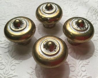 Vintage bulls eye Heavy & solid Brass Drawer pulls, drawer handles, drawer knobs, cabinet hardware