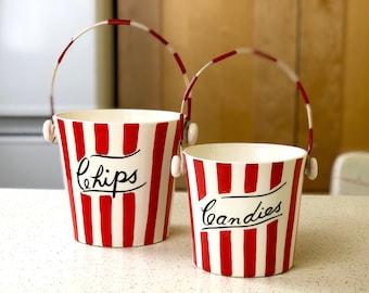 Yona Original 1959 Ceramic Circus Bucket Chips and Candies, Fun Retro Red and White Stripe, Mid Century Modern Kitchen
