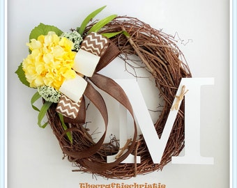 Front Door Wreaths-Hydrangea Wreath-Spring Hydrangea Wreath-Front Door Decoration-Monogram Spring Wreath-Wreaths for Sale-Initial Wreath