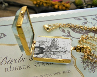 gold rectangle memory glass locket large photo locket heirloom keepsake necklace 14 karat gold fill pureroxjewels exclusive design