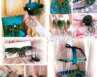 Peacock Weddings Teal Pillow, Basket,  guest book, pen, garters, candles, bag, flutes, cake set, card box, hair accessory, 17 pieces