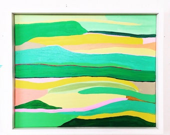 abstract landscape pink green sunset painting original canvas art
