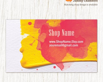 Business Card template, Printable template, Thank you Discount card, Watercolor Paint splash business cards