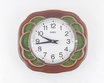 Vintage German Ceramic Wall Clock with Flower in Green and Brown