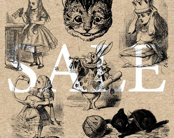Alice's Adventures Collection Instant Download Digital printable vintage clipart  graphic for stickers scrapbooking decor prints HQ 300dpi