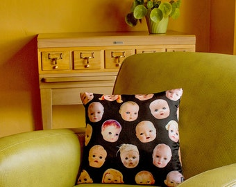 Doll Head Throw Pillow Cover - photos of vintage doll heads - custom backgrounds - 2-sided printing