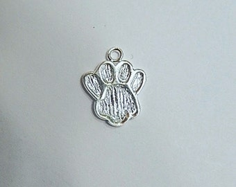 Sterling silver Paw charm (14x11mmm), .925 sterling silver