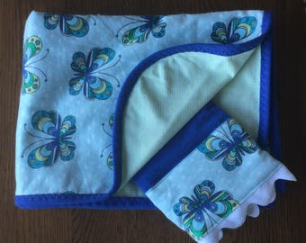 Butterfly Flannel Blanket and Burp Cloth Set...Ready to Ship