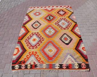 """Handmade Vintage turkish kilim rug, turkish rug, colorful area rug, wool rug, large outdoor rug, geometric design, 85"""" x 59.5"""""""