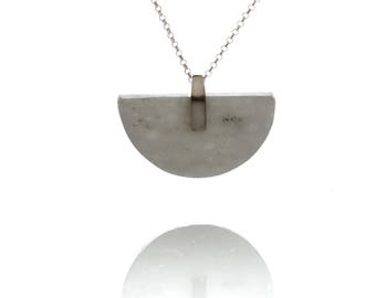 Semicircle grey marble short necklace gold plated sterling silver!