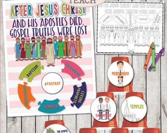 "LDS April 2018 Sharing Times Week 1: ""After Jesus Christ and His Apostles died, gospel truths were lost"" Title Poster, Object Lesson & more!"
