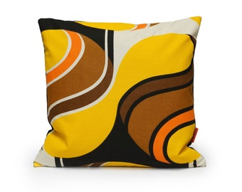 Yellow Mid Century Modern Pillow cover, retro cushion case, 70s throw pillow, accent pillow,  handmade from vintage fabric by EllaOsix