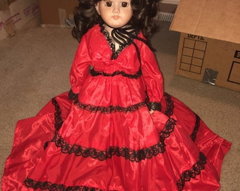 The Lady in  Red Porcelain Doll