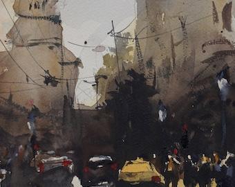 Original Watercolor Landscape Painting, Urban Art, Expressive Watercolor Artwork, Yellow Taxi Cab