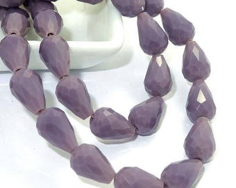 x 4 drops 12 mm opaque purple faceted glass beads.