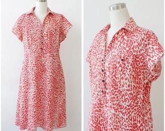 Dorothy Perkins Shirt Dress Cotton Plus Size Dress Red Animal Print Dress Summer Dress XL